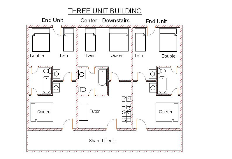 Multi unit log cabins ridin hy ranch resort for Multi unit floor plans